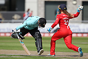 Lancashire Thunders Ellie Threlkeld (Wicket Keeper) looks to run out Lizelle Lee of the Surrey Stars during the Women's Cricket Super League match between Lancashire Thunder and Surrey Stars at the Emirates, Old Trafford, Manchester, United Kingdom on 7 August 2018.