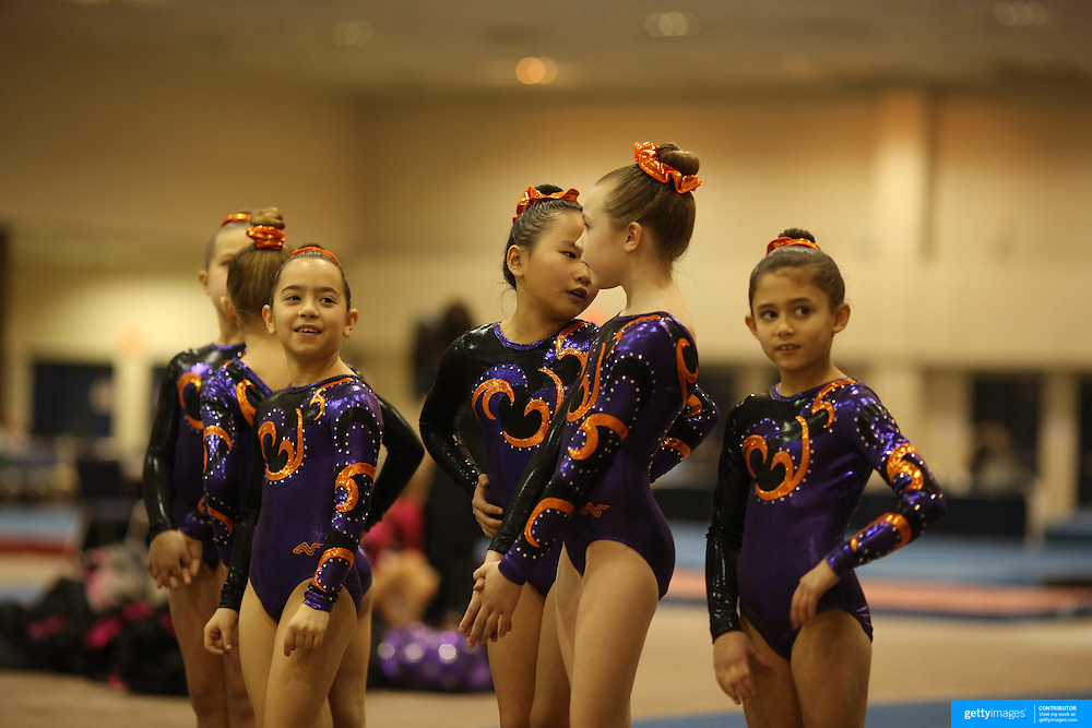 Gymnasts wait for competition during the 21st American Invitational 2014 competition at the XL Centre. Hartford, Connecticut, USA. USA. 31st January 2014. Photo Tim Clayton