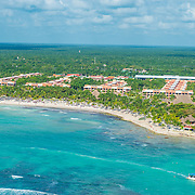 Aerial view of Barcelo hotels in Puerto Aventuras. Riviera Maya. Mexico. Maya Palace de Luxe,Maya Colonial and Maya Beach