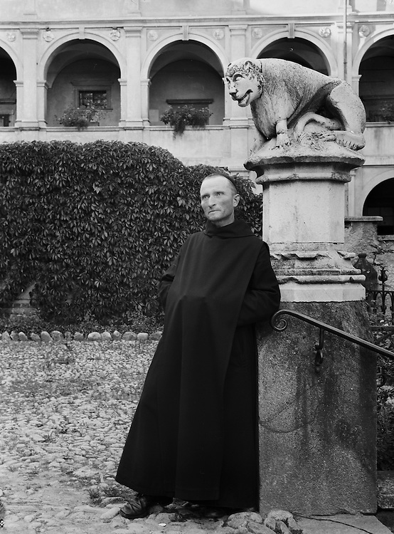 Monk in Courtyard of Seckau Abbey, Austria, circa 1933