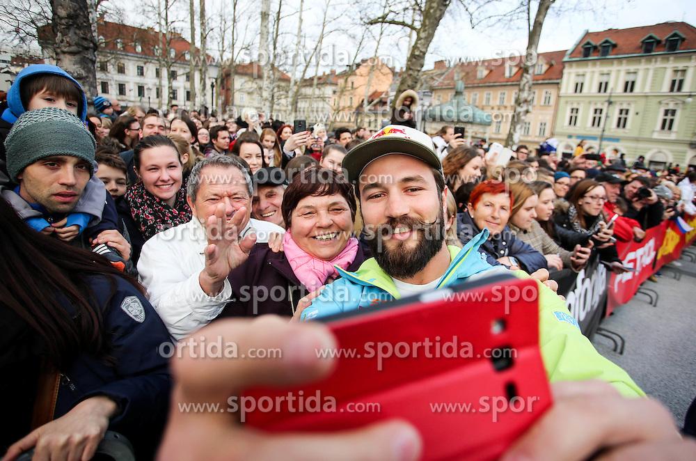 Filip Flisar during reception of Slovenian Winter athletes after the end of season 2015/16, on March 22, 2016 in Kongresni trg, Ljubljana, Slovenia. Photo by Matic Klansek Velej / Sportida