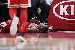 January 17, 2018 - Chicago, IL, USA - Chicago Bulls guard Kris Dunn (32) lays on the ground after falling on the court while dunking the ball during the second half against the Golden State Warriors at the United Center in Chicago on Wednesday, Jan. 17, 2018. The Warriors won, 119-112. (Credit Image: © Armando L. Sanchez/TNS via ZUMA Wire)