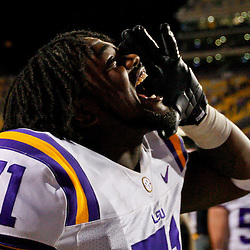 November 10, 2012; Baton Rouge, LA, USA;  LSU Tigers offensive tackle Jonah Austin (71) celebrates after a win over the Mississippi State Bulldogs during a game at Tiger Stadium.  LSU defeated Mississippi State 37-17. Mandatory Credit: Derick E. Hingle-US PRESSWIRE