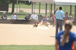03 June 2017:   Aynsleigh DeFries slides into 3rd after a throw to second goes wide letting her continue. Argenta Oreana Bombers at Le Roy Panthers for the IHSA Class 1A Le Roy Regional Finals in Le Roy Illinois