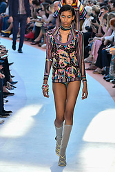 A model on the catwalk during the Missoni catwalk show during Milan Fashion Week 2017