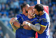Josh Charnley  (C) of Warrington Wolves celebrates  scoring the try with team mate Sitaleki Akauola (R) against Toronto Wolfpack during the Ladbrokes Challenge Cup match at the Halliwell Jones Stadium, Warrington<br /> Picture by Stephen Gaunt/Focus Images Ltd +447904 833202<br /> 13/05/2018