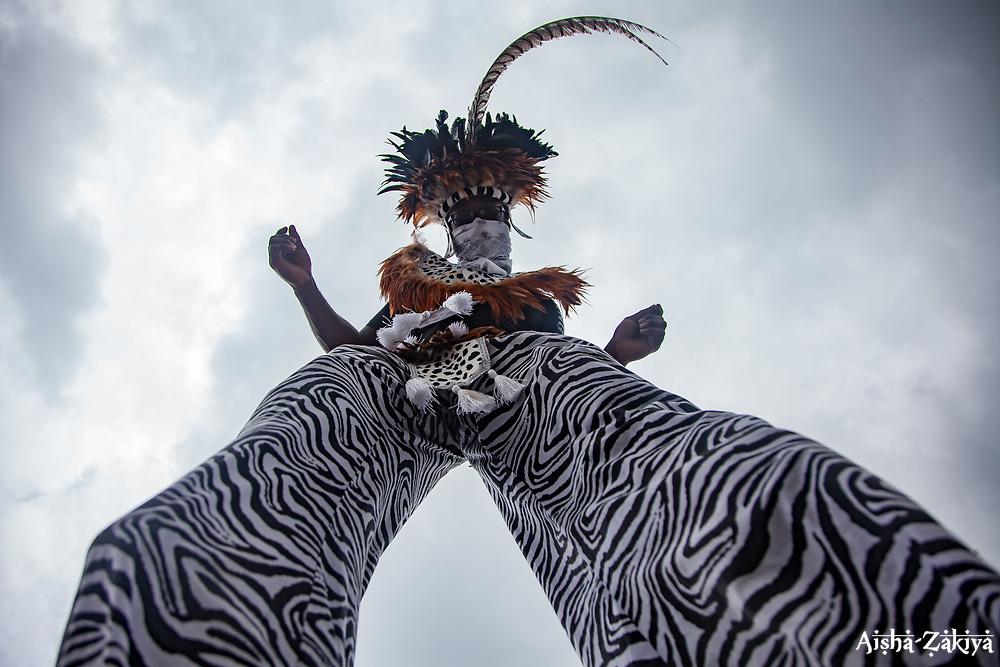 The Original Mocko Jumbies.  Carnival 2017 Adults' Parade.  Charlotte Amalie.  St. Thomas, USVI.  29 April 2017.  © Aisha-Zakiya Boyd
