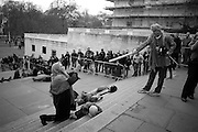 SIR NORMAN ROSENTHAL; ANDREW LOGAN, INTERCOURSE: Re-enacting Eisenstein: The Odessa Steps Sequence from Battleship Potemkin<br /> Jane and Louise Wilson directed the re-enactment on the steps outside the ICA. 26 November 2011.