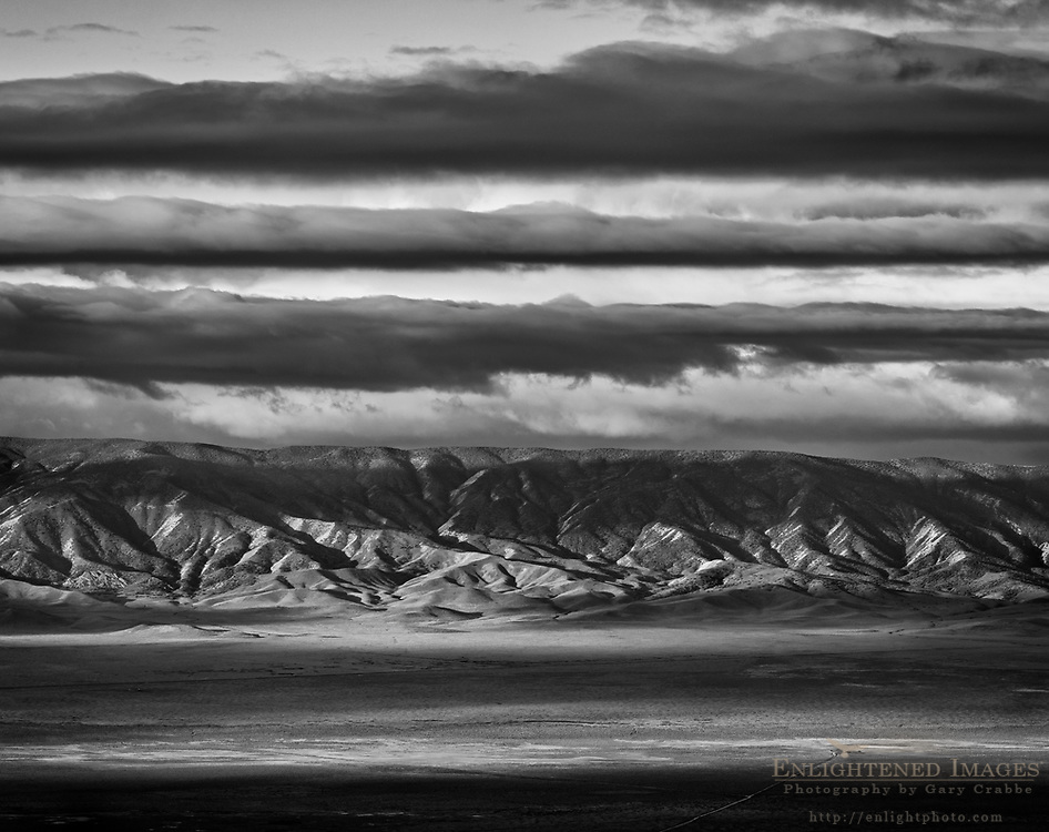 Clouds and sunlight over the Caliente Range, Carrizo Plain National Monument, California