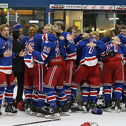 COCHRANE, ON - MAY 4: Oakville Blades players celebrate winning the 2019 Dudley Hewitt Cup Championship on May 4, 2019 at Tim Horton Events Centre in Cochrane, Ontario, Canada.<br /> (Photo by Tim Bates / OJHL Images)