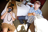 Matt Mills McKnight and Drew Nash working their portrait production skills in the hotel room at The Curtis in downtown Denver.