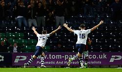 Jordan Hugill of Preston North End celebrates after scoring the equalising goal to make it 1-1- Mandatory byline: Matt McNulty/JMP - 07966386802 - 22/09/2015 - FOOTBALL - Deepdale Stadium -Preston,England - Preston North End v Bournemouth - Capital One Cup - Third Round