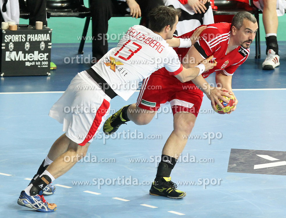 12.01.2013 Barcelona, Spain. IHF men's world championship, Quarter-Final. Picture show   in action during game between Denmark vs Hungary at Palau ST Jordi (Photo by Sportida Photo Agency)