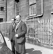 27/08/1959<br /> 08/27/1959<br /> 27 August 1959<br /> Shanahan Stamps trial. Jerome Shanahan (right) with W. Fanning (solicitor)  leaving court.