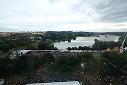 Party At The Palace, Saturday 11th August 2018<br /> <br /> Pictured: An aerial view of the festival with the main stage on the left and Linlithgow Palace at the opposite side of the loch.<br /> <br /> Aimee Todd | Edinburgh Elite media