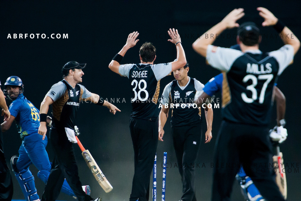 New Zealand appeal a run out chance during the ICC world Twenty20 Cricket held in Sri Lanka.