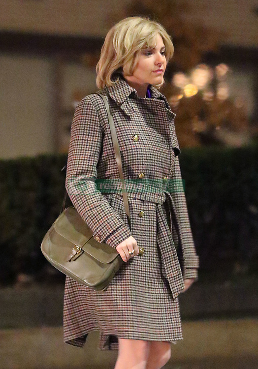 "First Look at Sienna Miller as Roger Ailes's wife Beth for ""The Loudest Voice"" filming in Manhattan's Upper West Side area. Sienna was filming a late-night scene and sporting a blonde wig and some prosthetics on her face to make her look slightly older for the role. Russell Crowe will be playing the lead role of Fox News Chief Roger Ailes. 07 Dec 2018 Pictured: Sienna Miller. Photo credit: LRNYC / MEGA TheMegaAgency.com +1 888 505 6342"