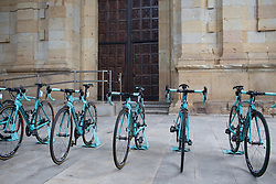 Giusfredi Bianchi Cycling Team bikes are lined up before the start the Durango-Durango Emakumeen Saria - a 113 km road race, starting and finishing in Durango on May 16, 2017, in the Basque Country, Spain.