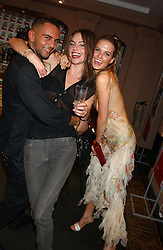 Left to right, designer MOHIB, LAUREN TEMPERLEY and Model ALICIA ROUNTREE at a party to celebrate 'Made in Italy at Harrods' - a celebration of Italian fashion food and wine, design and interiors, art and photography, cinema and music, beauty and glamour.  The party was held in the Georgian Restaurant at Harrods, Knightsbridge, London on 9th September 2004.<br /><br />PICTURES LICENCED UNTIL 9/3/2004 FOR USE TO PROMOTE THE 'MADE IN ITALY' EVENT/S ONLY.