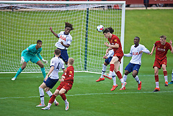 KIRKBY, ENGLAND - Saturday, August 10, 2019: Liverpool's Morgan Boyes sees his header go wide during the Under-23 FA Premier League 2 Division 1 match between Liverpool FC and Tottenham Hotspur FC at the Academy. (Pic by David Rawcliffe/Propaganda)