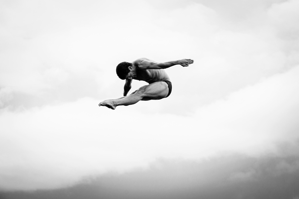 US high diver David Colturi performs at the Red Bull Cliff Diving World Series 2012. 03 August 2012