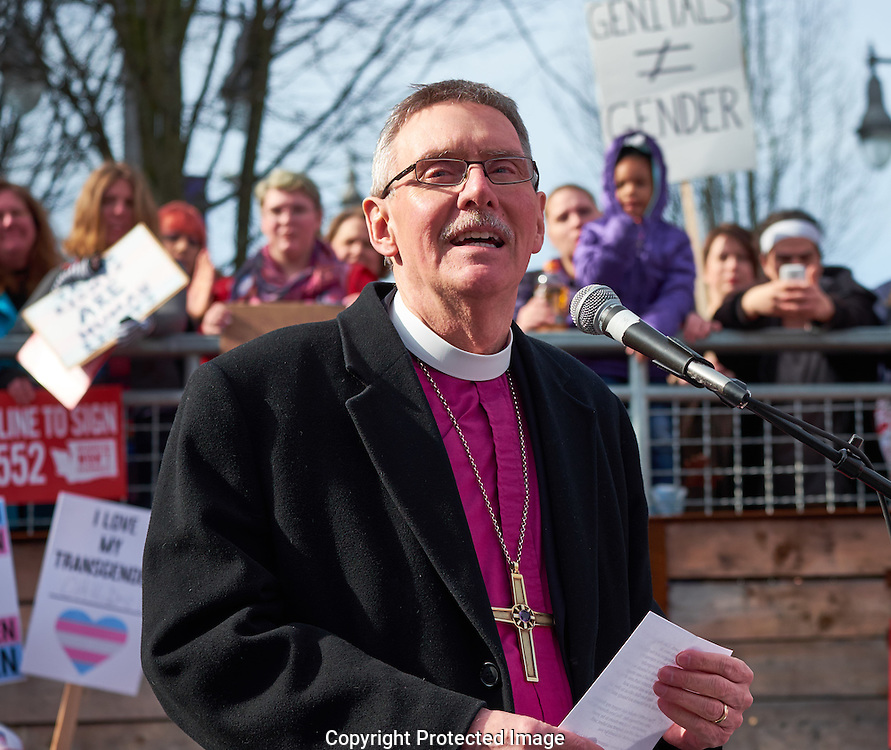 ELCA Bishop Rick Jaech speaks at a decline to sign I-1552 rally in downtown Tacoma, Washington, Saturday, Feb. 25, 2017. The voter  initiative—I-1552—would repeal protections for transgender Washingtonians. (Photo/John Froschauer)
