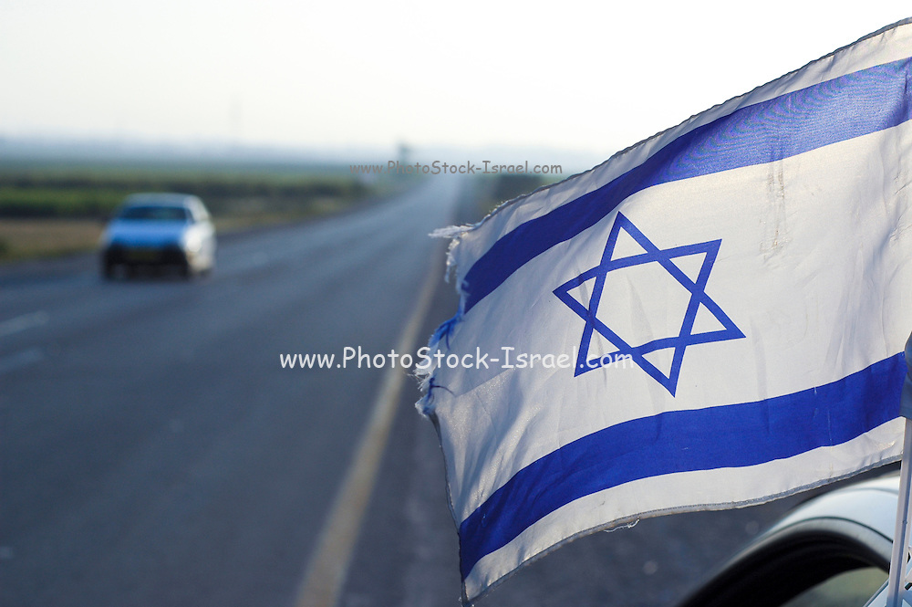 Israeli flag on a car