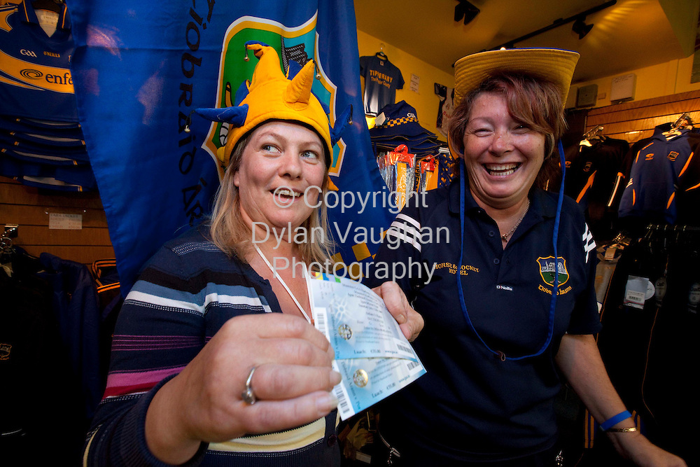 10/7//2009.Marion Graham manager at Lar na Pairce in Thurles pictured handing over tickets to Anne Kealy from Thurles for this Sundays Munster Final..Picture Dylan Vaughan