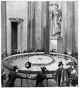 Demonstration of the Earth's rotation using (Jean Bernard) Leon Foucault's (1819-1868) demonstration of the rotation of the earth using freely suspended pendulum in the Pantheon, Paris, 1851.  From 'La Nature' (Paris 1887). Engraving.