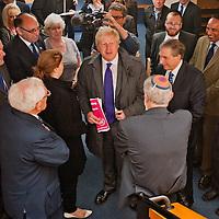 © BLAKE-EZRA PHOTOGRAPHY LTD. .www.blakeezracole.com  /  +44 (0) 7814 745512.Mayor of London Boris Johnson on the election campaign trail, visiting Jewish Care's Redbridge JCC on the morning of Thursday April 5th 2012.