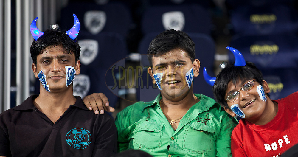 Decan Chargers Supporter with colors n DC mascot during match 11 of the Indian Premier League ( IPL ) between the Deccan Chargers and the Royal Challengers Bangalore held at the Rajiv Gandhi International Cricket Stadium in Hyderabad on the 14th April 2011..Photo by Saikat Das/BCCI/SPORTZPICS