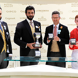 Winning owner H H SH Nasser Bin Hamad Al Khalifa (centre), trainer Roger Varian (2nd right) and jockey David Egan during the presentation after Daahyeh won the Albany Stakes during day four of Royal Ascot at Ascot Racecourse. Photo : Icon Sport