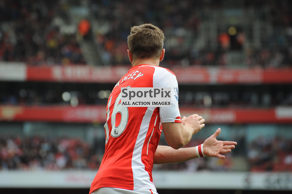 Arsenals Aaron Ramsey is left frustrated after hitting the bar during the Arsenal v West Brom match on Sunday 24th May 2015