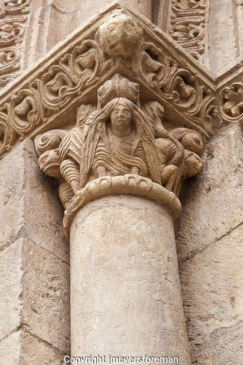 capital inside Basilica de San Isidoro, Leon Spain
