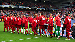 23.09.2012, Anfield, Liverpool, ENG, Premier League, FC Liverpool vs Manchester United, 5. Runde, im Bild Liverpool players, wearing shirts with 96 on the back in tribute to the victims of the Hillsborough Stadium Disaster shake hands with Manchester United players before the English Premier League 5th round match between Liverpool FC and Manchester United at Anfield, Liverpool, Great Britain on 2012/09/23. EXPA Pictures © 2012, PhotoCredit: EXPA/ Propagandaphoto/ David Rawcliff..***** ATTENTION - OUT OF ENG, GBR, UK *****