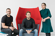 London, England, Uk, March 1,2019 - Portrait of What3words co-founder and CEO Chris Sheldrick (center) along with the company's CCO Clare Jones (right) and CMO Giles Rhys Jones (left) at their headquarter in West London.<br /> Founded in 2013, what3words developped a geocoding system for the communication of locations by 3 words, easier to remember and communicate than GPS numbers. Each words combination is linked to a 3 metres by 3 metres square. The software uses a grid of the world made up of 57 trillion squares.