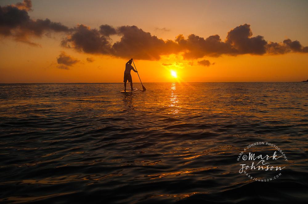 Stand-Up Paddle Boarding at sunrise on Kailua Bay, Oahu, Hawaii