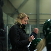 Regina Cougars women's Hockey Head Coach Sarah Hodgesin action during the Women's Hockey home game on October 13 at Co-operators arena. Credit: Arthur Ward/Arthur Images