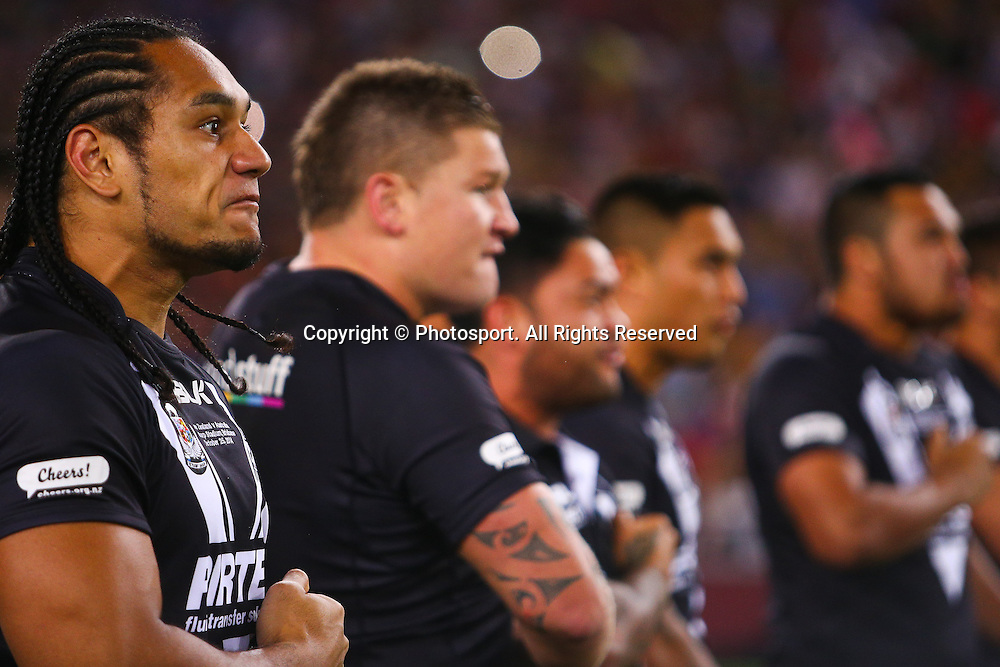 New Zealand player's perform the Haka before the Four Nations test match between Australia and New Zealand at Suncorp Stadium,  Brisbane Australia on October 25, 2014.