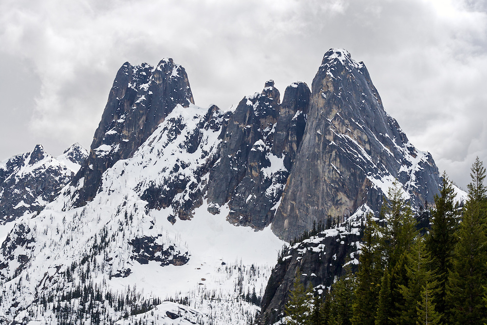 Early Winter Spires and Liberty Bell Mountain in the Okanagan-Wenatchee National Forest's North Cascade Range.  Photographed from Washington Pass in Washington State, USA.