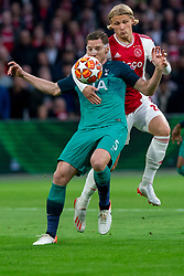 08-05-2019 NED: Semi Final Champions League AFC Ajax - Tottenham Hotspur, Amsterdam<br /> After a dramatic ending, Ajax has not been able to reach the final of the Champions League. In the final second Tottenham Hotspur scored 3-2 / Kasper Dolberg #25 of Ajax, Jan Vertonghen #5 of Tottenham Hotspur