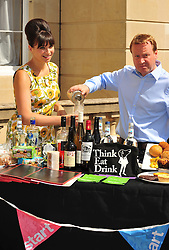 © licensed to London News Pictures. LONDON UK  24/06/11. Gizzie Erskin and Jamie Grainger-Smith from Think Eat Drink, on behalf of Start, an initiative by HRH The Prince of Wales, this morning launched the Start Pop-up Restaurant with Think Eat Drink at the location where the restaurant will 'pop-up' - Lancaster House London. Please see special instructions for usage rates. Photo credit should read ALAN ROXBOROUGH/LNP
