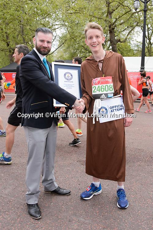 Guinness World Record  - Malcolm Treby (Fastest Marathon dressed as a Monk). The Virgin Money London Marathon, 23rd April 2017.<br /> <br /> Photo: Joanne Davidson for Virgin Money London Marathon<br /> <br /> For further information: media@londonmarathonevents.co.uk