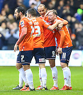 Danny Green of Luton Town (right) celebrates scoring the opening goal against Barnet with Paul Benson (2nd right), Josh McQuoid (2nd left) and Alex Lawless (left) during the Sky Bet League 2 match at Kenilworth Road, Luton<br /> Picture by David Horn/Focus Images Ltd +44 7545 970036<br /> 14/11/2015