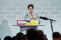 07 DEC 2018, HAMBURG/GERMANY:<br /> Annegret Kramp-Karrenbauer, CDU Parteivorsitzende, nach Ihere Wahl zur Parteivorsitzenden, CDU Bundesparteitag, Messe Hamburg<br /> IMAGE: 20181207-01-187<br /> KEYWORDS: party congress