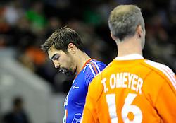 Nikola Karabatic and Thierry Omeyer during the match against Croatia at Zaragoza (Photo by Sportida Photo Agency)