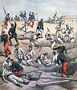 Landslide at Fort d'Aubervilliers, Ile-de-France: Rescuing men buried by moving sandy soil. Five men died.  From 'Le Petit Journal', Paris, 11 June 1892.