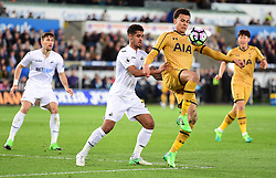 Dele Alli of Tottenham Hotspur controls the ball inside the swansea box under pressure from Kyle Naughton of Swansea City - Mandatory by-line: Alex James/JMP - 05/04/2017 - FOOTBALL - Liberty Stadium - Swansea, England - Swansea City v Tottenham Hotspur - Premier League