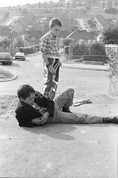 Alvin and Neville with Union Jack Flag, Hawthorne Road, High Wycombe, UK. 1980s.