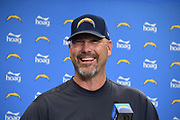 Nov 9, 2017; Costa Mesa, CA, USA; Los Angeles Chargers defensive coordinator Gus Bradley addresses the media at press conference at the Hoag Performance Center.